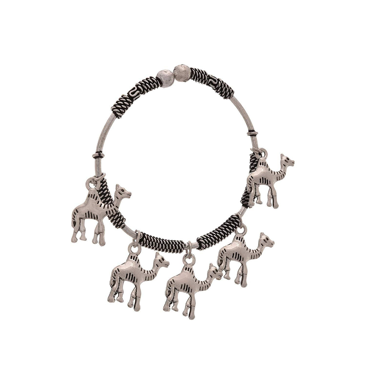 JFL - Traditional Ethnic Handmade German Silver Plated Oxidised Camel Designer Cuff & Kadaa for Women & Girls.