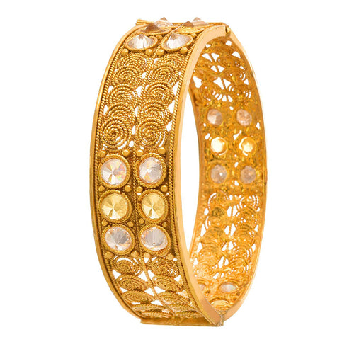JFL -Traditional & Ethnic One Gram Gold Plated Diamond & Spiral Designer Openable Kada for Women & Girls