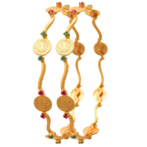 JFL -Traditional Ethnic Temple Laxmi Goddess One Gram Gold Plated Coin Designer Bangle for Girls & Women