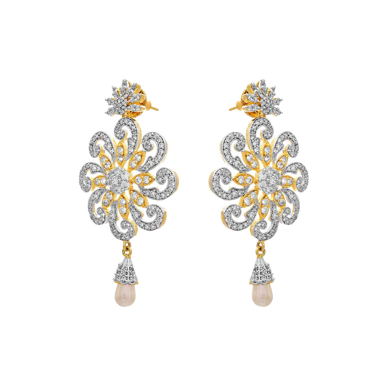 Fusion Ethnic One Gram Gold Plated Cz American Diamond Dangler Earring for Women & Girls