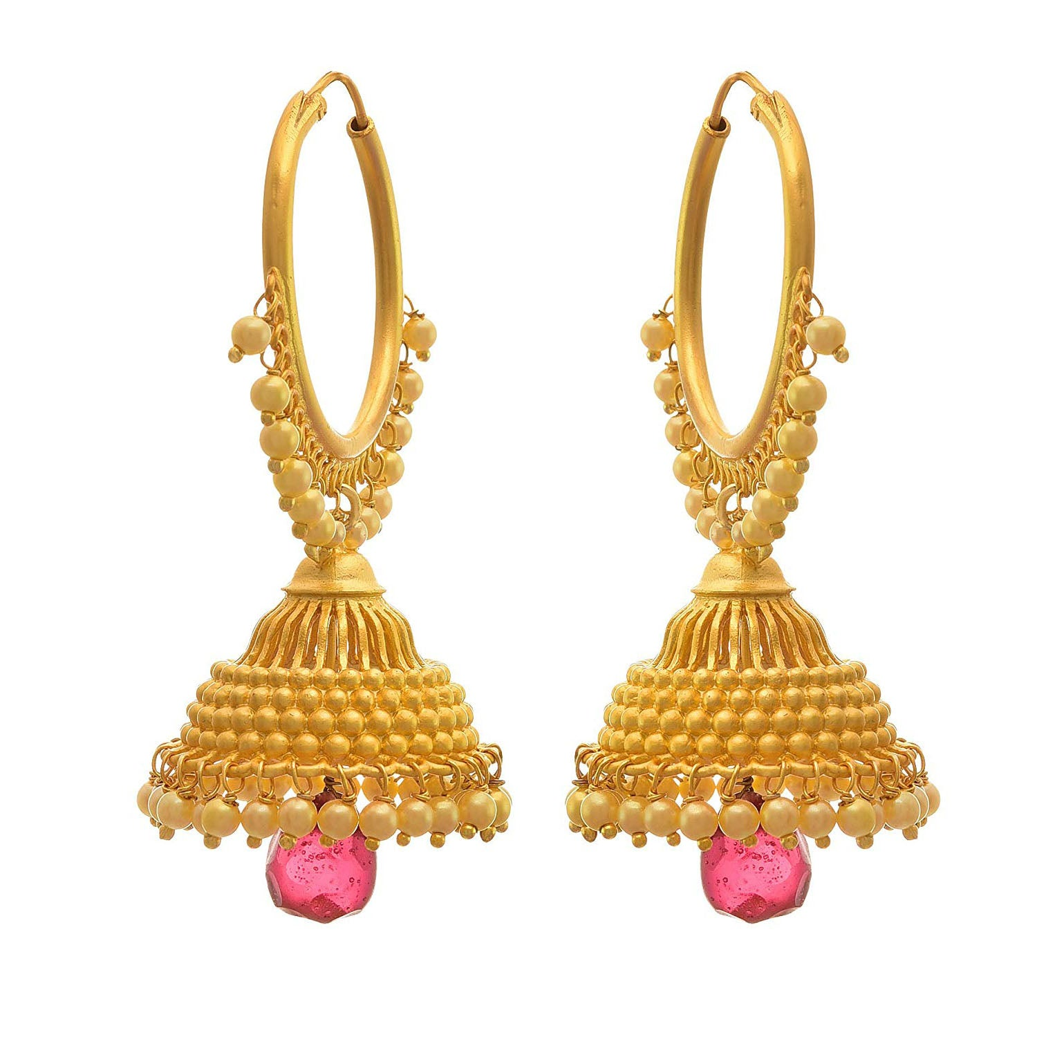 JFL- Traditional Ethnic One Gram Gold Plated Red Pearl Jhumki Earring For Women & Girls.