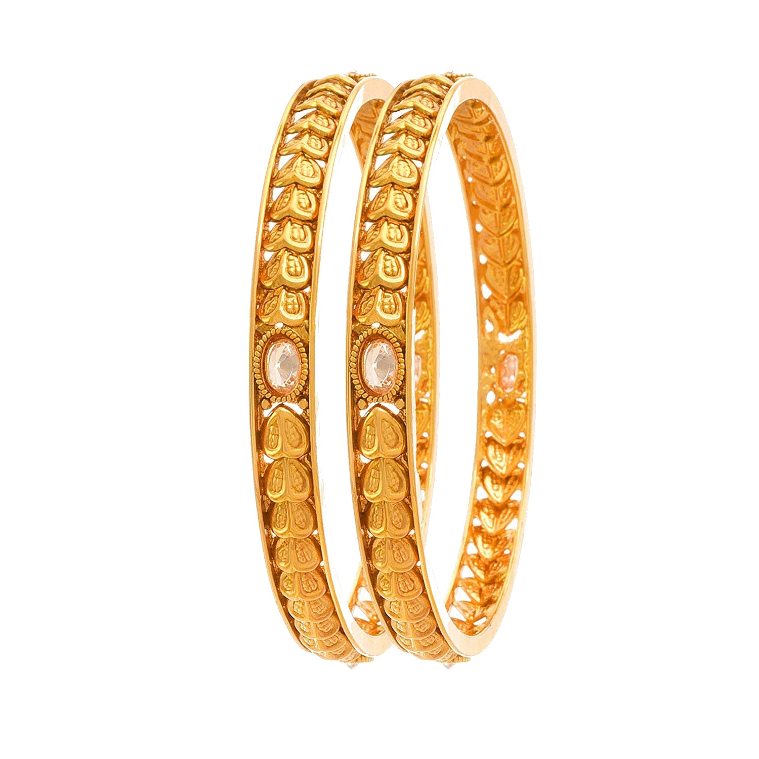 JFL -Traditional & Ethnic One Gram Gold Plated Diamond Designer Bangle Set for Women & Girls