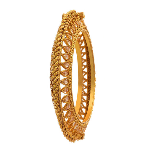 JFL -Traditional & Ethnic One Gram Gold Plated LCD Diamond Designer Openable Kada for Women & Girls