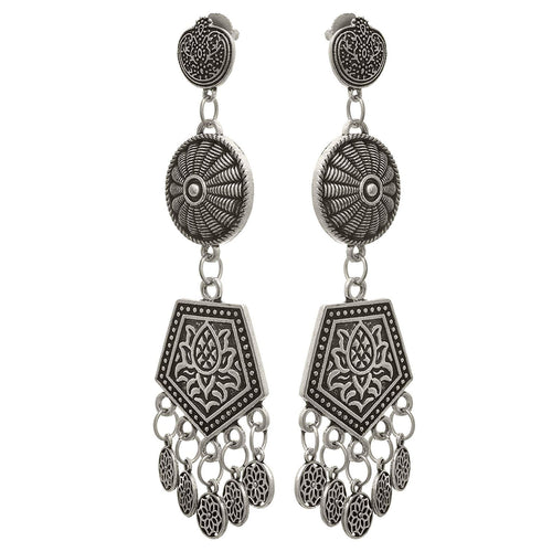 Traditional Ethnic Handmade German Silver Plated Oxidised Lotus Designer Earring for Women & Girls.