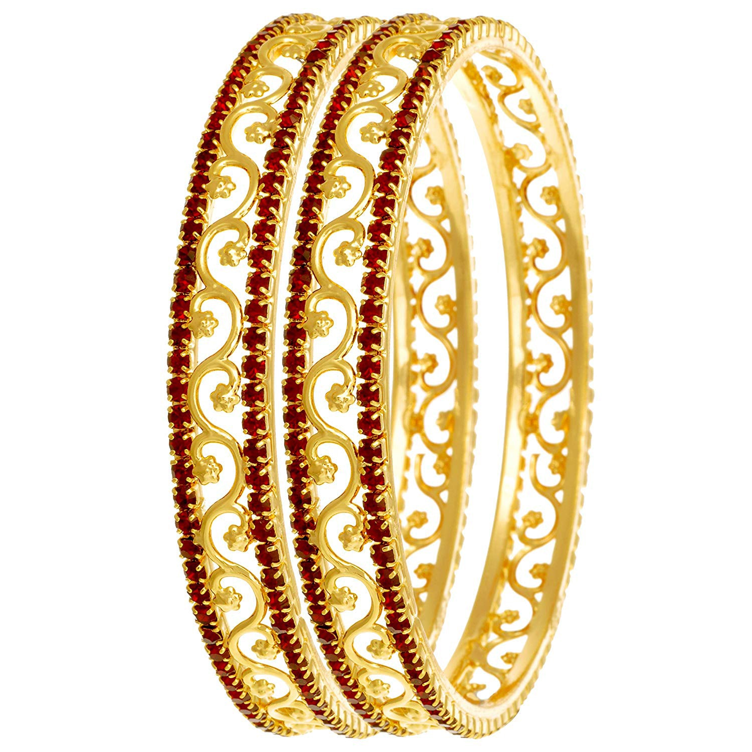 JFL-Jewellery For Less  One Gram Gold Plated Red Stone Bangle Set For Women