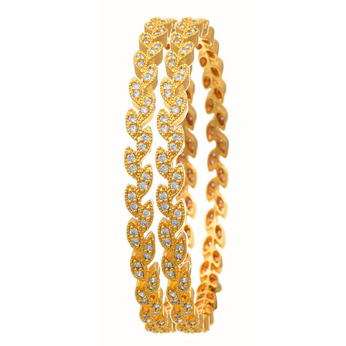JFL- Traditional Ethnic One Gram Gold Plated Cz American Diamonds Designer Bangles for Women and Girls