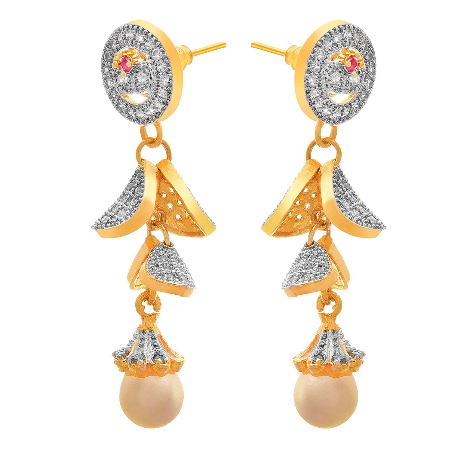 Jewellery for Less Fusion Ethnic One Gram Gold Plated Cz American Diamond Designer Earring for Women & Girls