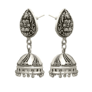 Traditional Ethnic Handmade German Silver Plated Oxidised Goddess Laxmi Designer jhumki Earring For Women & Girls.
