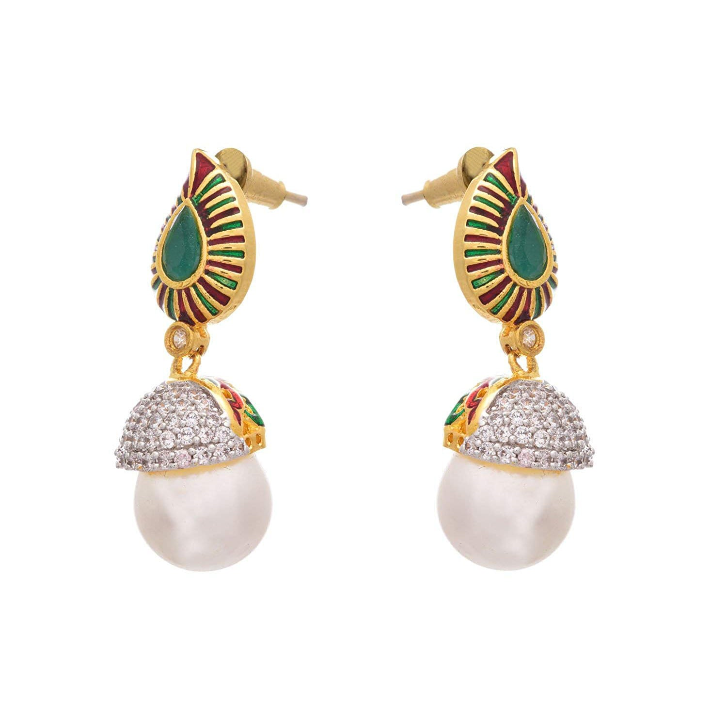 Fusion Ethnic One Gram Gold Plated Cz American Diamond Red and Green Designer Earring for Women & Girls