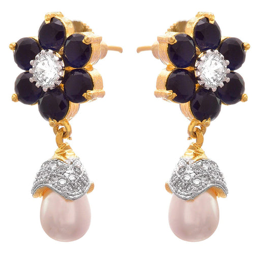 Traditional Fusion One Gram Gold Plated Blue Cz American Diamond Designer Earring for Girls and Women.