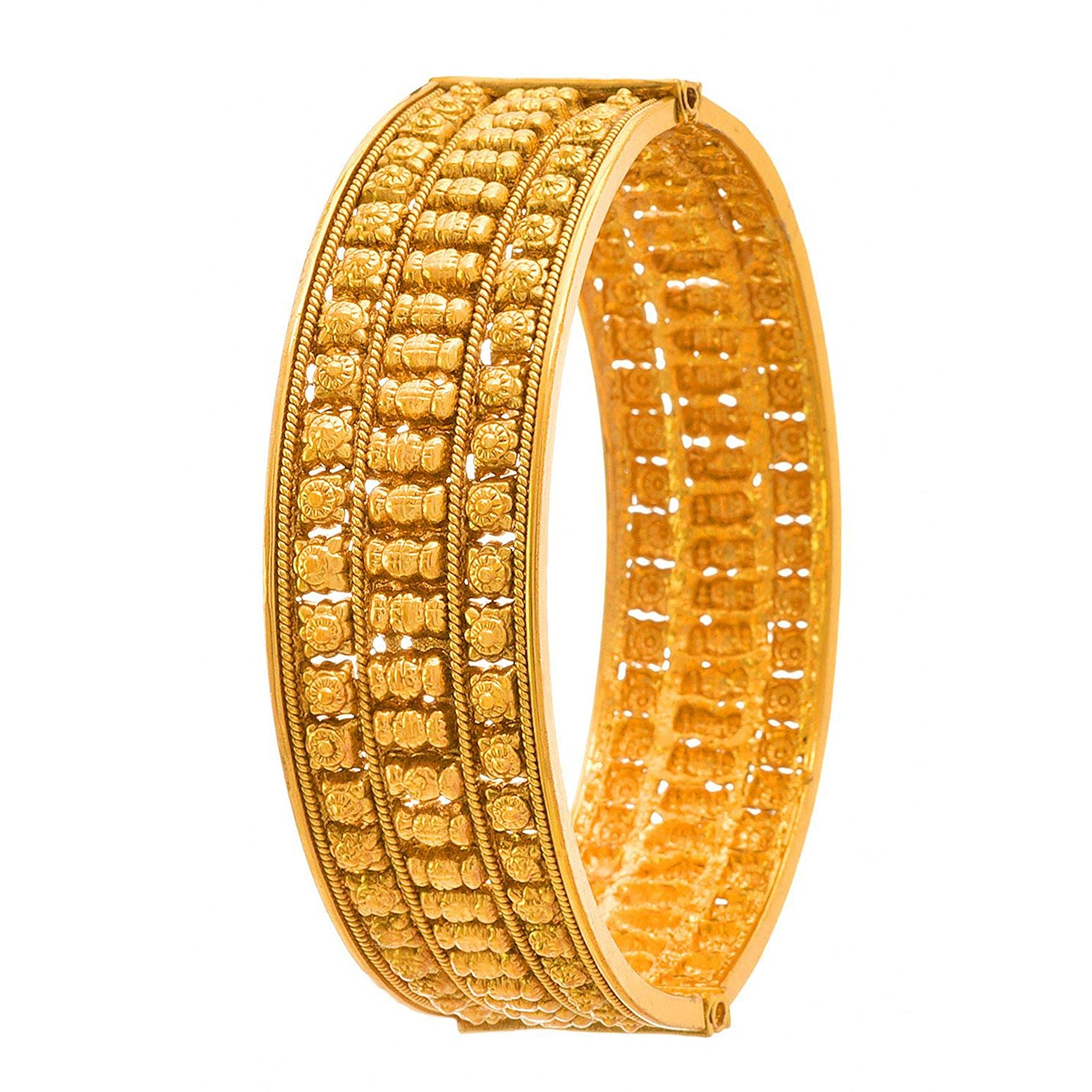 JFL - Traditional Ethnic One Gram Gold Plated Openable Broad Kada for Women and Girls