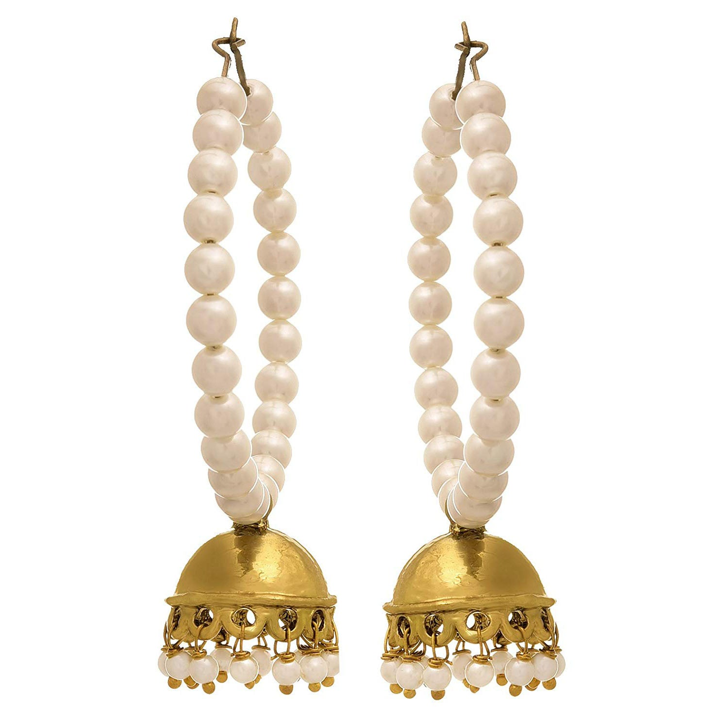 Traditional Ethnic One Gram Gold Plated Pearls Designer Bali Earring for Women & Girls.