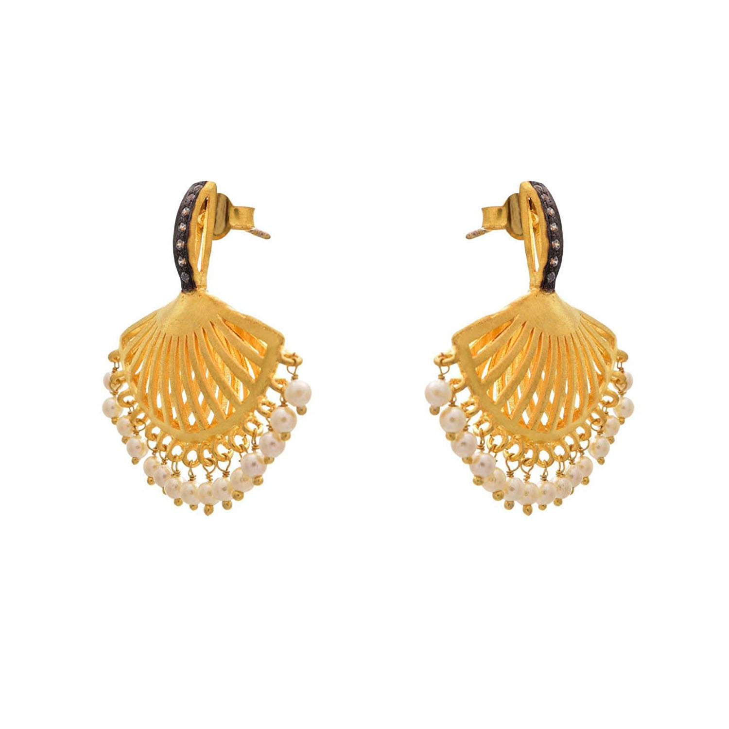 Traditional Ethnic One Gram Matt Gold Plated Earrings with Victorian Diamonds & Pearls for Girls & Women