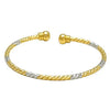 Dual Tone Gold and Silver Shade Copper Thin Bangle Single Cuff Kada/Bracelet for Women