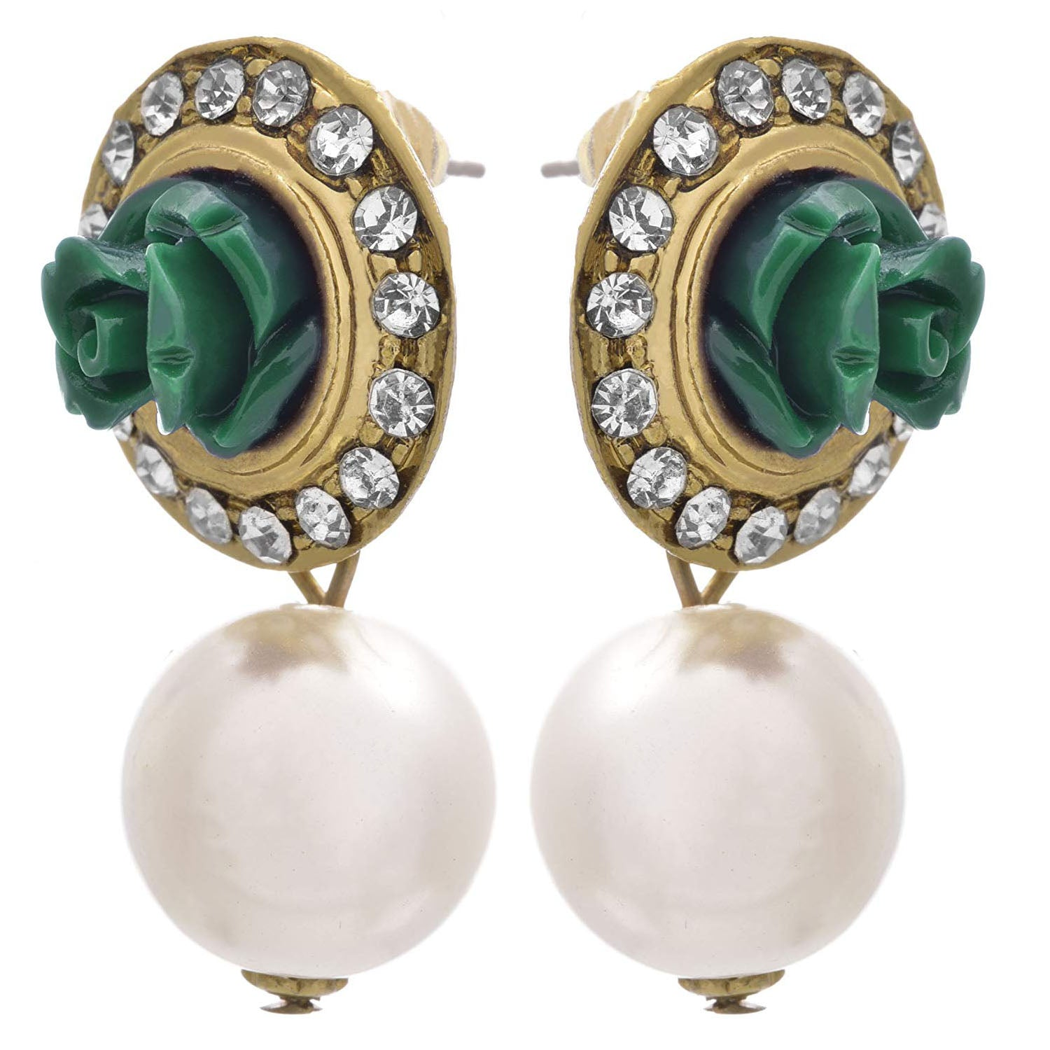 JFL - Traditional Ethnic Fusion One Gram Gold Plated Diamond Green Rose Floral Designer Earring with Pearl Dangler for Women & Girls.