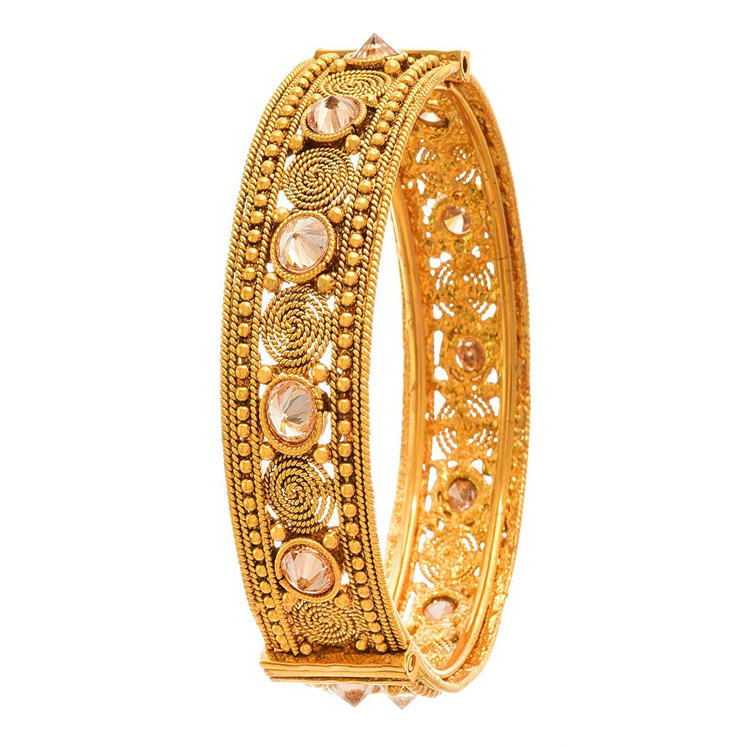 JFL -Traditional Ethnic One Gram Gold Plated Diamond with Spiral Designer Openable Kada for Women & Girls