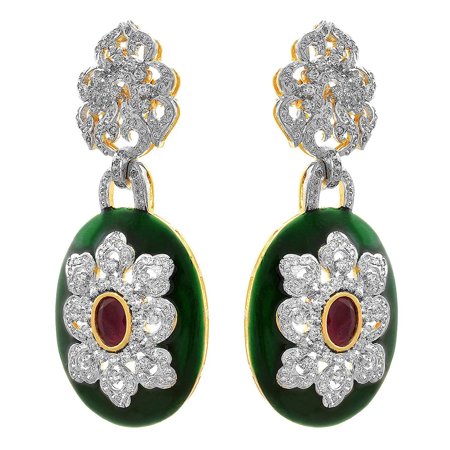 Jewellery for Less Fusion Ethnic One Gram Gold Plated Green Meenakari Diamond Designer Earring For Women & Girls.