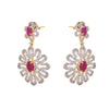 Fab Floral Ruby One Gram Gold Plated Cz Diamond Earrings for Women