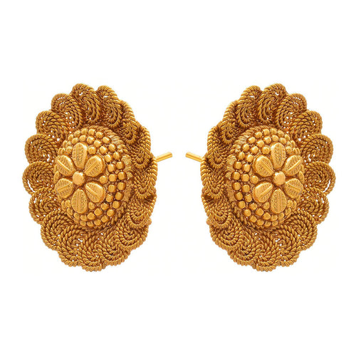 Jewellery for Less Traditional Gold Plated Spiral Stud Earrings for Women (1g, Golden)