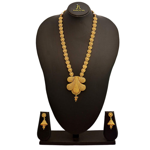 JFL - Jewellery for Less Designer Traditional Ethnic Gold-Plated Long Necklace Set with Earrings for Women(Golden)