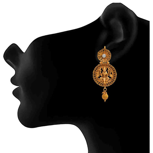 JFL - Traditional Ethnic Temple MahaLaxmi One Gram Gold Plated Designer Earring for Women & Girls.