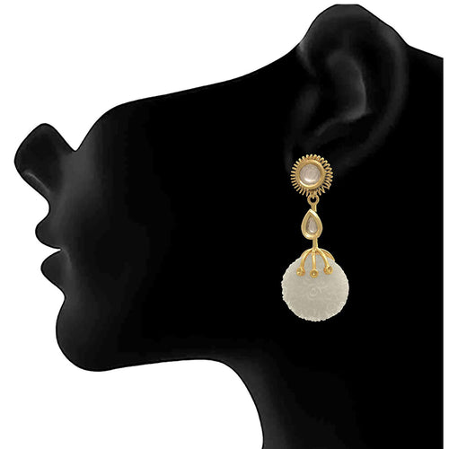 JFL - Fusion Ethnic One Gram Gold Plated kundan Floral Designer Earring for Women & Girls