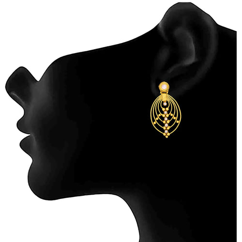 JFL- Traditional Ethnic One Gram Gold Plated Diamond Designer Earrings for Women and Girls.