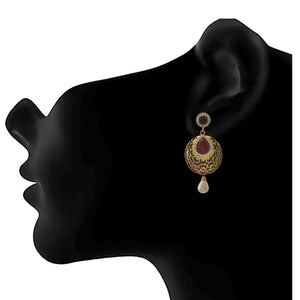 JFL - Jewellery for Less Traditional Ethnic One Gram Gold Plated Meenakari Maroon Stone Diamond Designer Earring For Girls And Women.