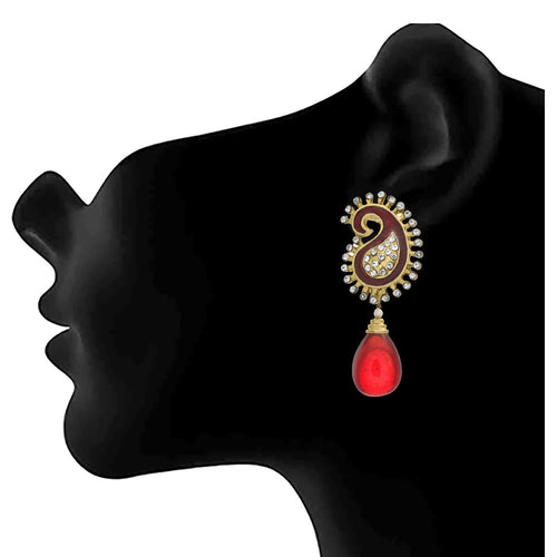 JFL - Fusion Ethnic Kaerie One Gram Gold Plated Austrian Diamond Red Meenakari Designer Dangler Earring for Women & Girls