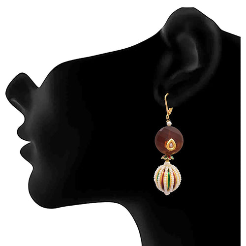 JFL-Traditional Ethnic One Gram Gold Plated Pearl Meenakar Transparent Brown Stone Designer Earrings For Women & Girls.