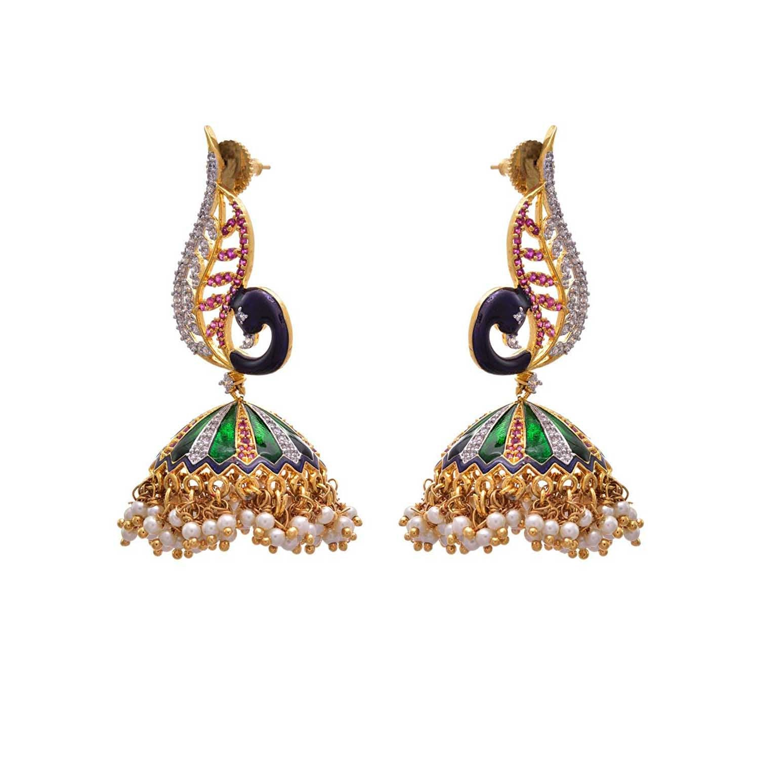 JFL - Breathtaking Mesmerising Cz Diamond Peacock Earring
