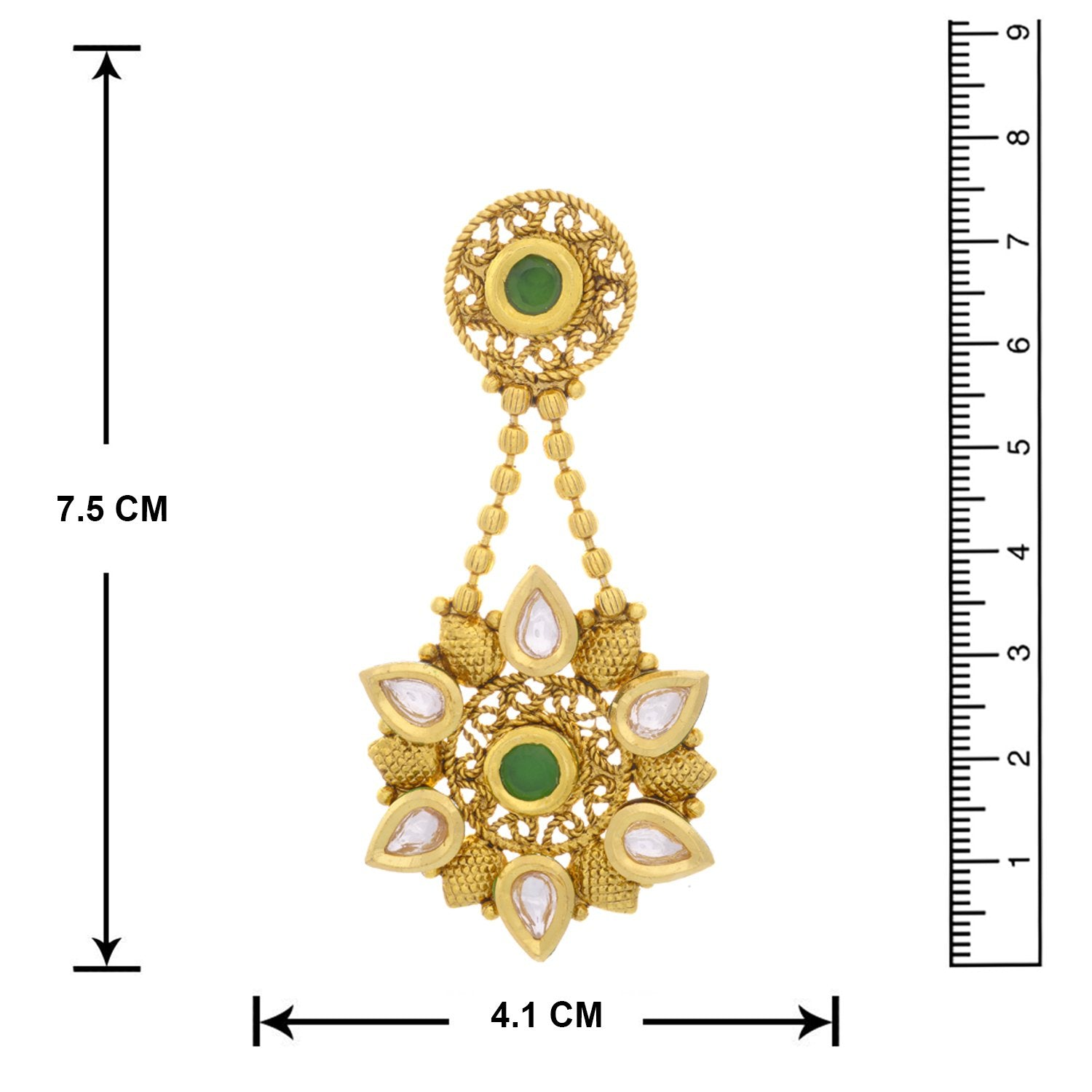 Traditional Ethnic One Gram Gold Plated Kundan Green Stone Designer Earrings for Women and Girls.