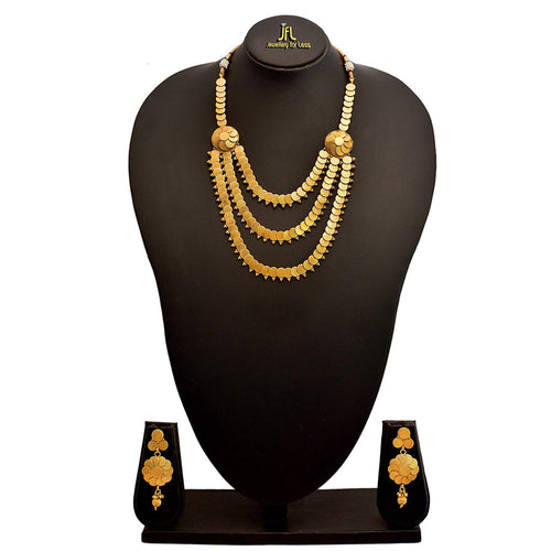 JFL - Traditional Ethnic One Gram Gold Plated Coin Designer Necklace Set with Earring for Women and Girls.