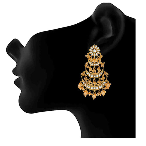 JFL - Traditional Ethnic One Gram Gold Plated Long Earrings with Real Kundan and Pearls for Girls and Women.