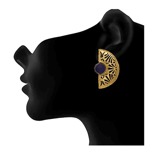 JFL - Traditional Ethnic One Gram Gold Plated Stone Designer Earring for Girls & Women.