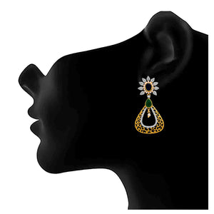 JFL - Traditional Ethnic One Gram Gold Plated Cz American Diamond & Stone With Pearl Designer Earring for Girls and Women.