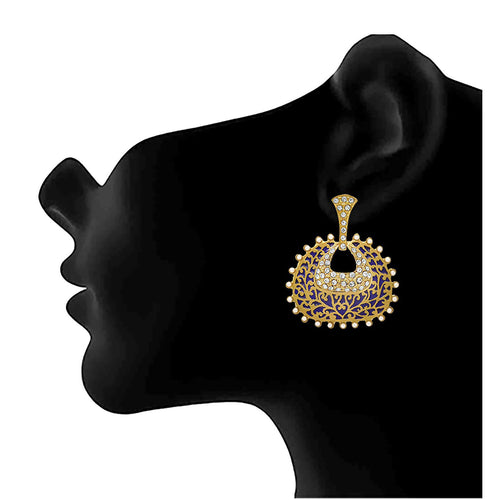 JFL - Traditional Ethnic One Gram Gold Plated Diamond & Pearl With Meenakari Designer Earring For Women & Girls.