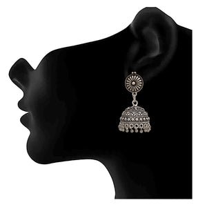 Traditional Ethnic Handmade German Silver Plated Oxidised Floral Designer Jhumki Earring For Women & Girls.