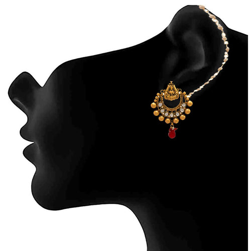JFL - Traditional Ethnic One Gram Gold Plated Temple Mahalaxmi Kundan Designer Earring for Women & Girls