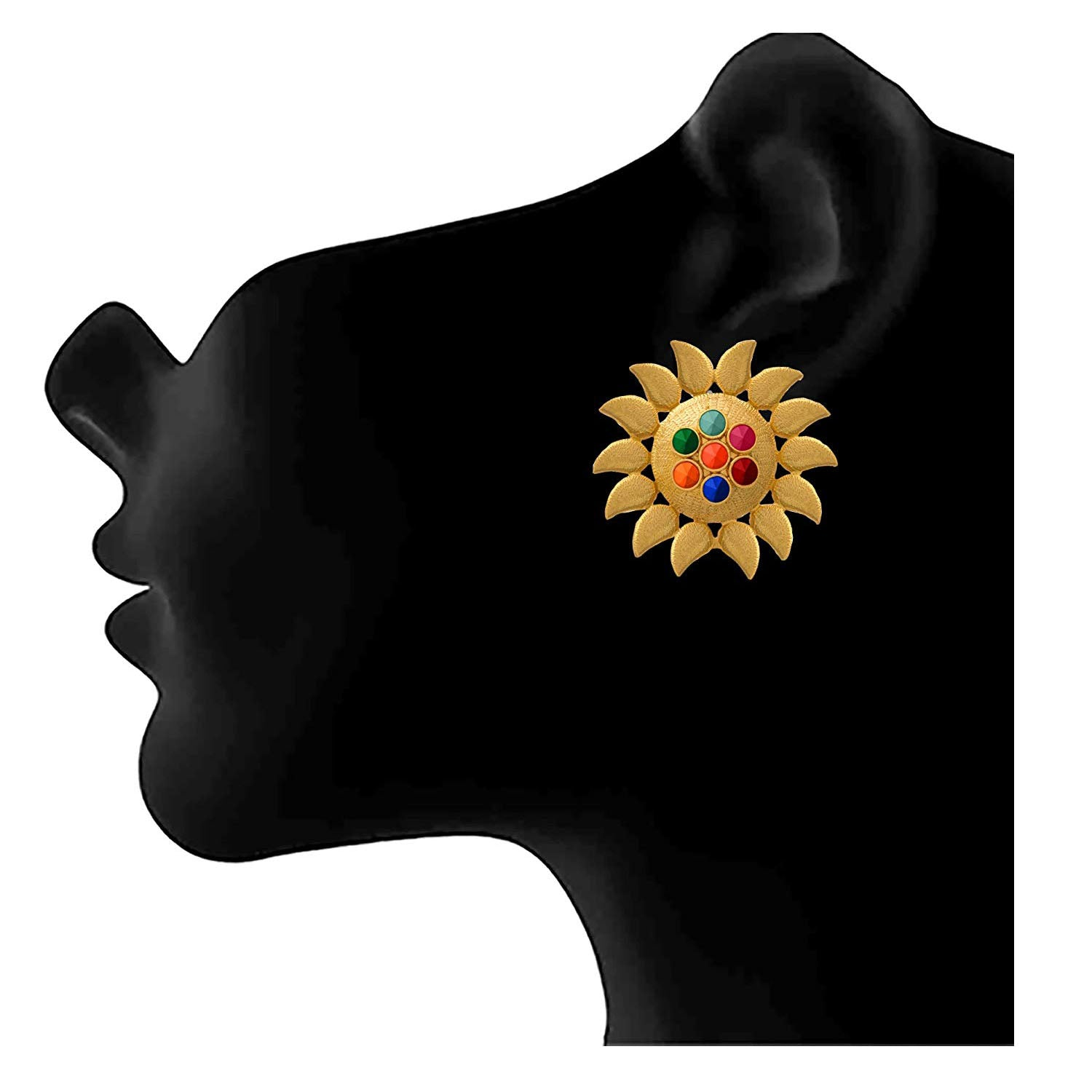 JFL - Traditional Ethnic One Gram Gold Plated Sun Flower Designer Earring For Women & Girls.