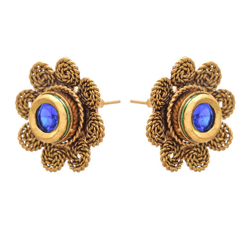 JFL - Fabulous One Gram Gold Plated Blue Designer Earring for Women.
