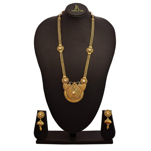 JFL - Traditional Ethnic One Gram Gold Plated kundan Designer Long Necklace Set with Earring for Women and Girls