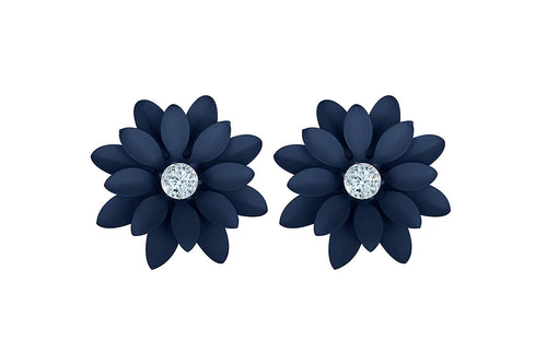 JFL - Stylish Fancy Floral Solitaire Cz American Diamond Party Wear Matt Rubber Coated Big Stud Earrings for Women & Girls