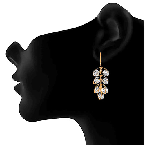 JFL - Stylish Ethnic One Gram Gold Plated Diamond Designer Earrings for Women & Girls.