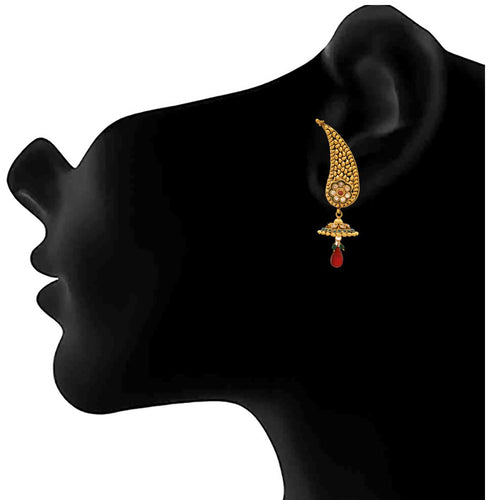 JFL - Traditional Ethnic One Gram Gold Plated Diamond Designer Ear Cuff Earrings for Women & Girls.
