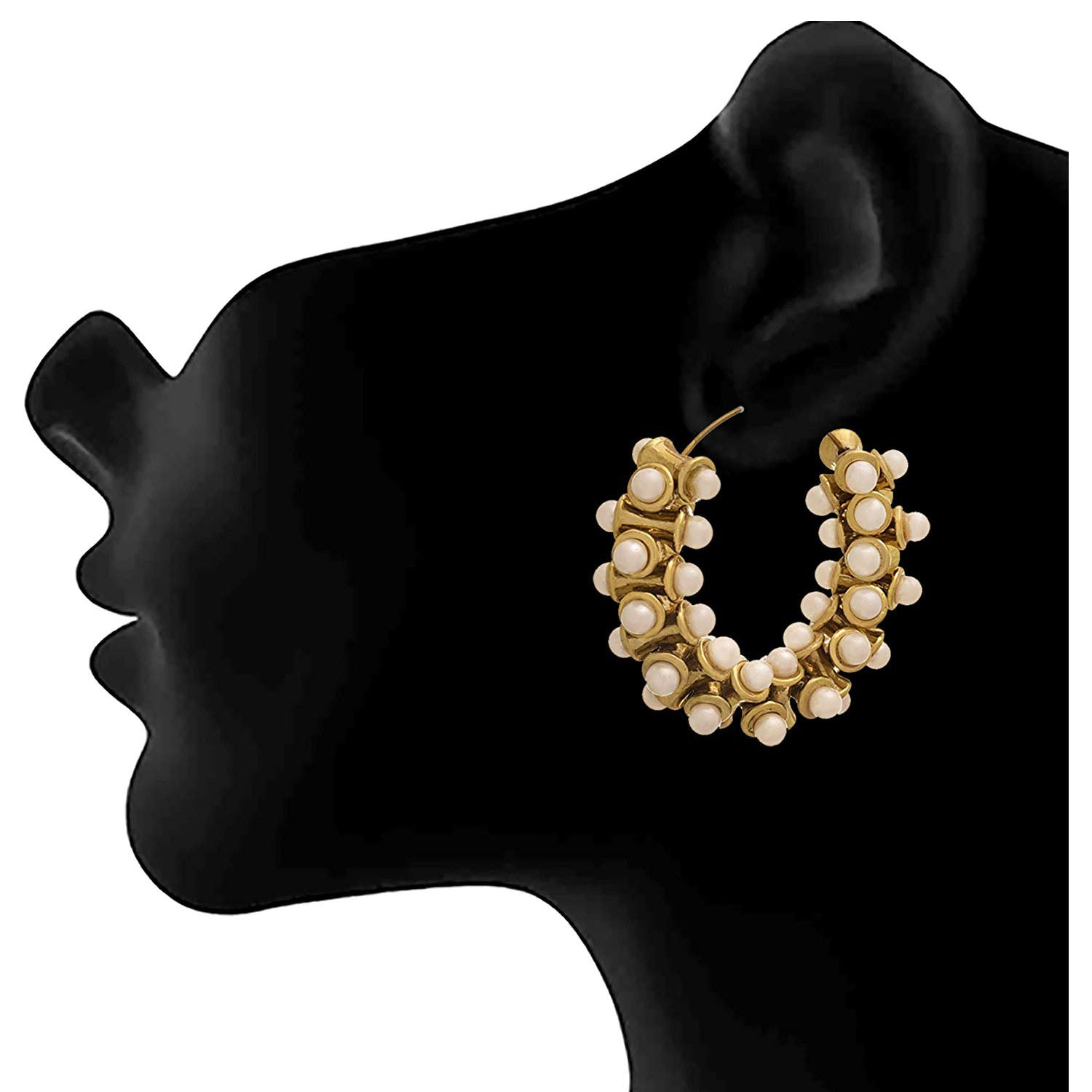 JFL -Traditional Ethnic One Gram Gold Plated Pearls Designer Bali Earring for Women & Girls