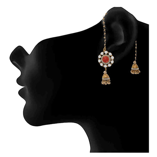 JFL - Traditional Ethnic One Gram Gold Plated Diamond & Pearls Designer Earring for Girls and Women
