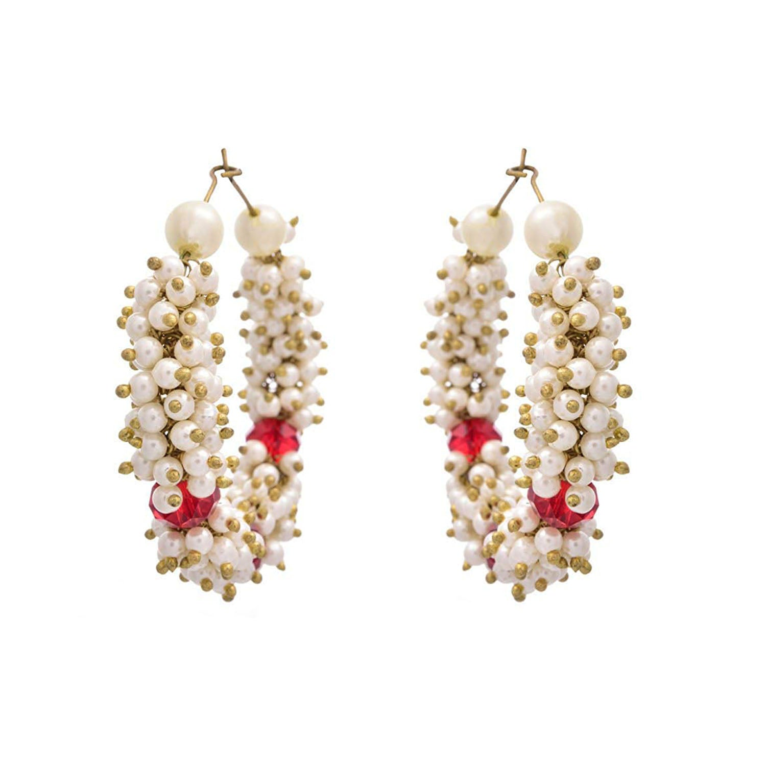 Jfl - Pretty Pearl Balis With Red Crystal.