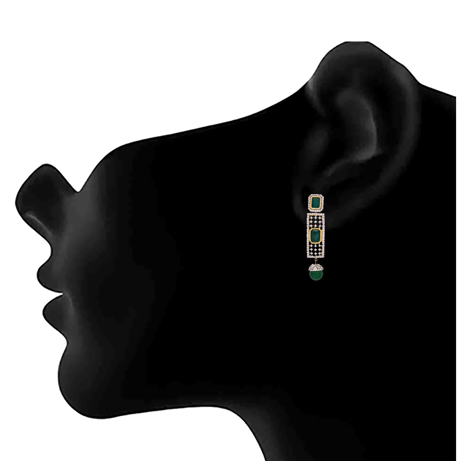 Jfl- Fusion Ethnic One Gram Gold Plated Green Emerald Cz American Diamond Earrings For Women And Girls.