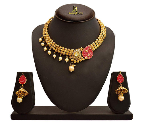JFL - Traditional Ethnic One Gram Gold Plated Pink Stone Pearl Designer Necklace Set with Earring for Women and Girls.